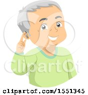 Clipart Of A Senior Man Pointing To A Hearing Aid Royalty Free Vector Illustration
