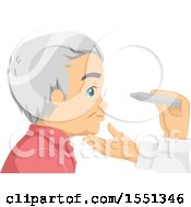 Clipart Of A Senior Man Getting An Eye Exam Royalty Free Vector Illustration