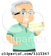 Clipart Of A Senior Man Holding A Pension Check Royalty Free Vector Illustration