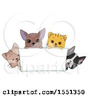 Clipart Of A Blank Banner With Cats And Dogs Royalty Free Vector Illustration