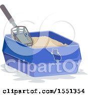 Clipart Of A Scooper In A Kitty Litter Box Royalty Free Vector Illustration