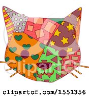 Clipart Of A Cat Face Made Of Patches Royalty Free Vector Illustration