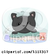 Clipart Of A Spoiled Black Cat At A Spa Royalty Free Vector Illustration