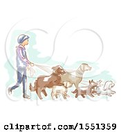 Clipart Of A Male Professional Dog Walker Royalty Free Vector Illustration