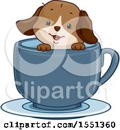 Clipart Of A Cute Puppy In A Tea Cup Royalty Free Vector Illustration