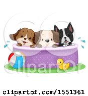 Clipart Of A Group Of Dogs In A Swimming Pool Royalty Free Vector Illustration