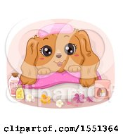 Clipart Of A Spoild Dog Resting On A Spa Pillow Royalty Free Vector Illustration by BNP Design Studio