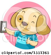 Clipart Of A Dog Giving A Thumb Up And Taking A Selfie Royalty Free Vector Illustration