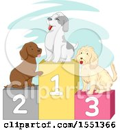 Clipart Of A Podium With Dogs Royalty Free Vector Illustration