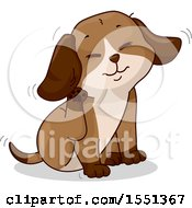 Clipart Of A Puppy Dog Scratching His Ear Royalty Free Vector Illustration