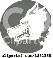 Clipart Of A Profiled Rabid Dog In A Circle Royalty Free Vector Illustration