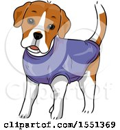 Clipart Of A Dog Wearing A Medical Shirt Royalty Free Vector Illustration