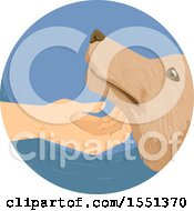 Clipart Of A Hand Scratching Under A Dogs Chin Royalty Free Vector Illustration