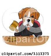 Judge Dog Mascot Banging A Gavel