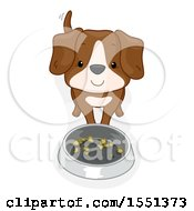 Clipart Of A Happy Dog At His Pet Food Bowl Royalty Free Vector Illustration