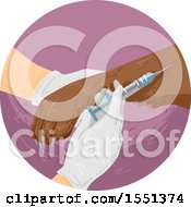 Clipart Of A Pair Of Gloved Veterinarian Hands Drugging A Dog Royalty Free Vector Illustration