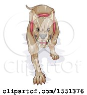 Clipart Of A Scary Aggressive Dog Salivating And Ready To Attack Royalty Free Vector Illustration