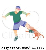 Clipart Of A Dog Biting A Man On The Leg Royalty Free Vector Illustration
