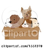 Clipart Of A Box Of Adorable Dogs Royalty Free Vector Illustration
