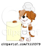 Chef Dog Mascot Giving A Thumb Up By A Menu Sign