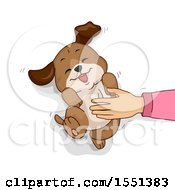 Clipart Of A Hand Rubbing A Dogs Belly Royalty Free Vector Illustration