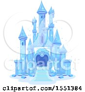 Clipart Of A Blue Ice Castle Royalty Free Vector Illustration