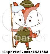 Poster, Art Print Of Fox Scout Holding A Flag