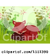 Clipart Of A Cute Fox Sleeping In Foliage Royalty Free Vector Illustration by BNP Design Studio