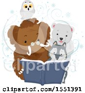 Poster, Art Print Of Mammoth Wolf Polar Bear And Owl Reading A Book In The Winter