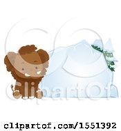Clipart Of A Cute Mammoth Sitting By A Blank Ice Block Royalty Free Vector Illustration