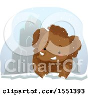 Clipart Of A Mammoth By An Ice Mountain Royalty Free Vector Illustration