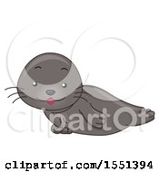 Clipart Of A Cute Seal Resting Royalty Free Vector Illustration