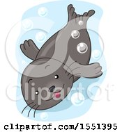 Clipart Of A Cute Seal Swimming Royalty Free Vector Illustration