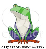 Clipart Of A Cute Sitting Tree Frog Royalty Free Vector Illustration