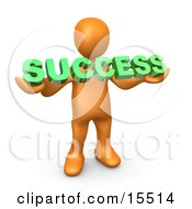 Orange Person Holding A Green Success Sign