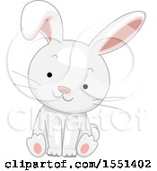 Clipart Of A Cute White Bunny Rabbit Sitting Royalty Free Vector Illustration by BNP Design Studio