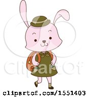 Clipart Of A Pink Rabbit Scout Wearing A Backpack Royalty Free Vector Illustration
