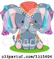 Clipart Of A Cute Festival Elephant Royalty Free Vector Illustration