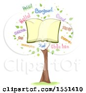 Clipart Of A Tree Formed Of An Open Book And The Word Hello In Different Languages Royalty Free Vector Illustration