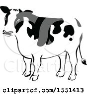 Clipart Of A Black And White Dairy Cow Royalty Free Vector Illustration