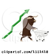 Bull Mascot Pushing A Shopping Cart With A Green Increase Stock Market Arrow