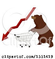 Bear Mascot Pushing A Shopping Cart With A Red Decline Stock Market Arrow