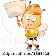 Clipart Of A Worker Bee Mascot Wearing A Hardhat And Vest Holding Up A Blank Sign Royalty Free Vector Illustration