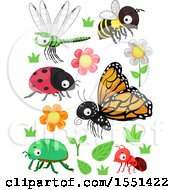 Clipart Of Flowers Plants And Insects Royalty Free Vector Illustration
