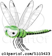 Clipart Of A Green Dragonfly Royalty Free Vector Illustration