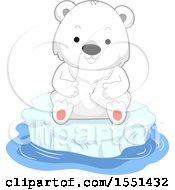 Clipart Of A Cute Polar Bear Cub On An Iceberg Royalty Free Vector Illustration