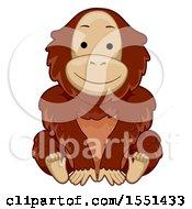 Clipart Of A Cute Orangutan Sitting Royalty Free Vector Illustration by BNP Design Studio