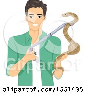 Clipart Of A Man Holding A Snake With A Holder Royalty Free Vector Illustration
