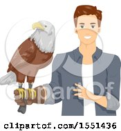 Man Wearing A Falconry Glove An American Eagle On His Arm