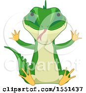 Clipart Of A Sitting Green Lizard Royalty Free Vector Illustration by BNP Design Studio